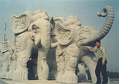 您好请收我们雕刻的大象图片(我中央美院嘉祥石雕厂刘斌)