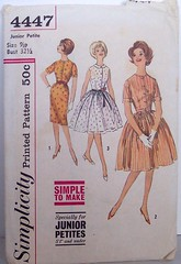 Vintage Simplicity Pattern 4447 Size 9 Junior A Line Dress or Full Skirt Dress 60s Bust 32, Waist 24, Hip 34 (Sassy By Design) Tags: she vintage 60s flickr pattern dress sewing international cast rockabilly etsy alinedress bust32 waist24 sassybydesign hip34 simplicity4447 size9junior