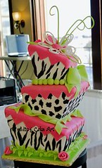 Animal Prints Wedding Cake (sharoncakes) Tags: animalprints zebraprint fondantweddingcake squarewhimsicalcake squarewhimsyweddingcake squaretopsyturvyweddingcake squaretopsyturvycake animalprintscake neonpinkandgreencake neonpinkandblackweddingcake weddingcakesugarpaste