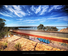 Road to Speedy Recovery :: HDR (:: Artie | Photography :: Happy 2016 !) Tags: bridge photoshop canon river graffiti highway rust paint cs2 decay rusty australia wideangle dirty spray ugly handheld adelaide discolor 1020mm filthy southaustralia railings murray hdr murrayriver rundown artie 3xp sigmalens photomatix tonemapping tonemap 400d rebelxti