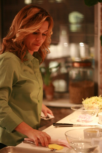 cat cora prepping her area.