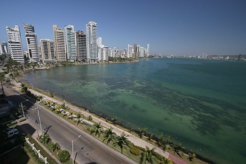 View from the 6th floor apartment where I stayed in Cartagena, Colombia.