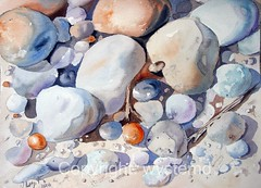 Pebbles on the beach (wystemd) Tags: beach stone watercolor sand aquarelle favorites pebbles 1025 aquarell