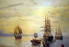 """Sailing-Ships"" (c. 1886-1890) - Constantinos Volanakis (Tilemahos Efthimiadis) Tags: dvdphotos11   greece nationalgallery gallery art   painting museum   alexandrossoutzos  euripideskoutlidesfoundation   greekpainters nationalbankofgreece constantinos volanakis sailingships oil canvas      hellas athens 50views 100views   200views address:city=athens address:country=greece picnik 300views 400views 500views 600views 700views 800views 900views 1000views"
