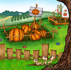 Garden detail - Pumpkins, Tomatos, and Earthworms (archangel) Tags: art kids illustration children mural illustrator litwin mikelitwin archangel