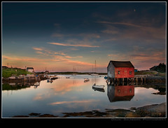 Heaven? (Dave the Haligonian) Tags: ocean sunset red sky moon canada clouds coast boat fishing nikon rocks heaven novascotia atlantic hut shore shack d200 seasweed 18200vr prospectbay copyrightallrightsreserved davidsaunders davethehaligonian nkn1007nef