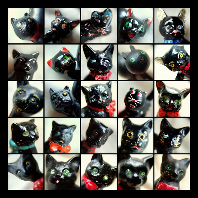 Black cats - macro mosaic