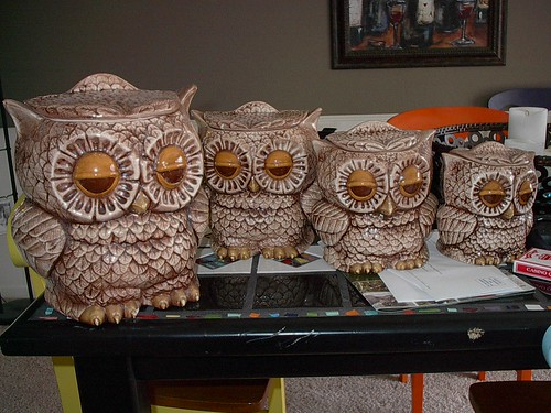 Owl Canisters Before by luvs2sew