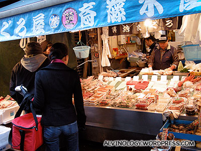 One of the few seafood stores open for business