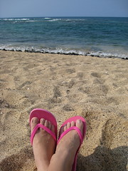 New Pink Sandals and Turquoise Waters (seaotter22) Tags: ocean pink vacation feet beach water relax island hawaii sand sandals turquoise lounge feets alohastate