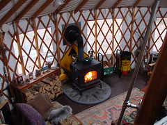 wood stove from yurt loft (coyurtco) Tags: green yurt sustainable yurts enviornmentallyfriendly simplelifestyle coloradoyurt