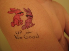 174/365 Up 2 No Good (Go! Shawn!) Tags: pink boy 2 shirtless portrait holiday man male bunny bunnies pecs up sunglasses tattoo self easter purple arm good no chest fake days 365 shoulder tat pecks 365days up2nogood