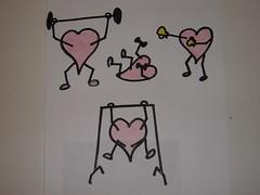 immagine di cuori stilizzati che si allenano in palestra
