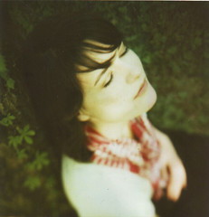 (Kate Pulley) Tags: blue amanda film girl polaroid sx70 franklin spring sister tennessee fairy 600 cropped pinkerton balloo borderless