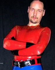 Tran over Red and Blue pants (23) (ralfnuber) Tags: rubber latex gummi
