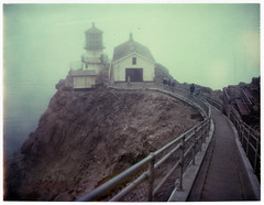 lighthouse (lawatt) Tags: lighthouse film fog stairs polaroid fnd pointreyes 669 nationalseashore marinmagazine automatic250
