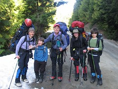 Five sixths of the crew saddled up at the parking spot (3 miles up Road 13; ~ 2850 ft) and ready to head up!
