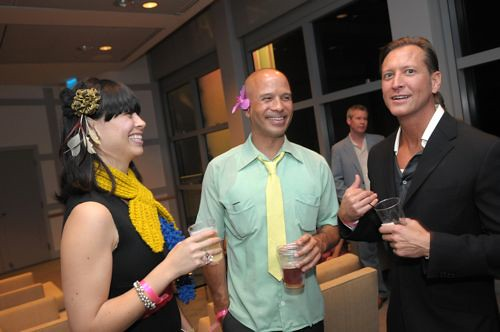 Michael Soriano (middle, designer of The Pearl, hip renovated hotel in San Diego) with fellow revelers at the MIX opening.