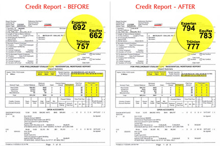 a before and after comparison of credit reports, highlighting credit scores