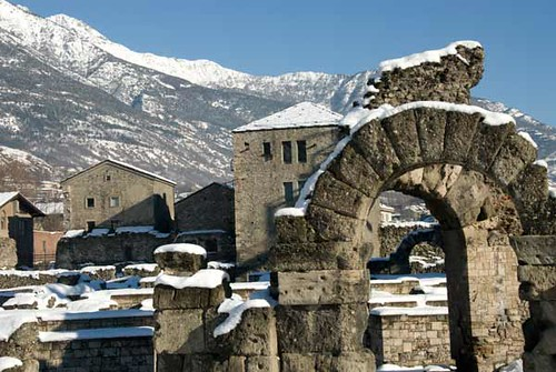 Gate to Roman amphitheater, Aosta