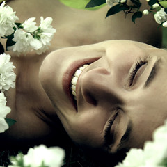 . hearty laughing (di.SUN.ity) Tags: flowers portrait woman beautiful smile laughing pretty janina closedeyes disunity goodfriendofmine katrinlindner