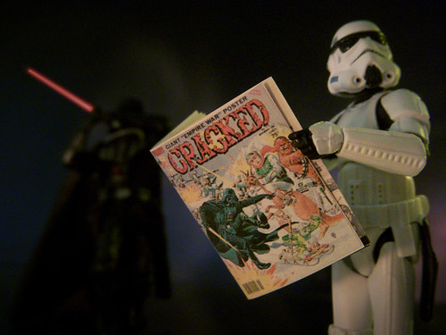 Pictured: It is unwise to read Cracked in front of Darth Vader