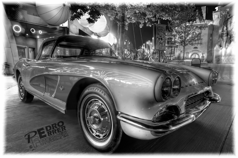 Corvette 60`s vintage car at Annette's - Disney Village - Paris