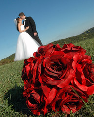 344 - 8x10 crop (Misty Watson) Tags: wedding color groom bride kiss bouquet redroses bridalbouquet
