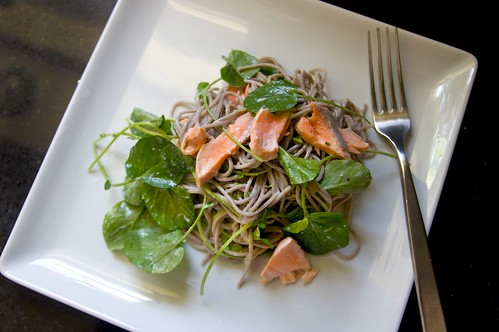 soba salmon & watercress