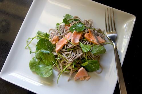 soba salmon & watercress