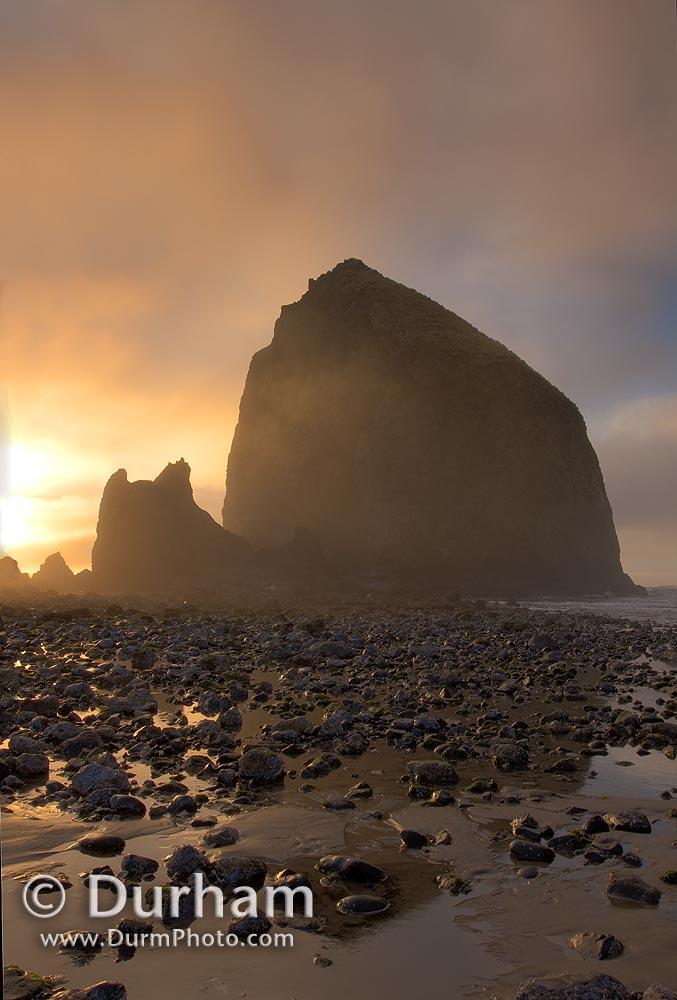 foggy haystack rock