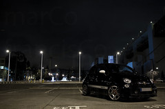 Fiat 500 Abarth (Marco_Francisco) Tags: street bridge sea sky black car rio race speed river mar fiat preto ponte scorpion badge passion carro karl rua 500 paixo tejo ceu velocidade abarth docas escorpio embelema