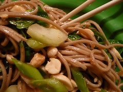 Extreme close-up on the soba salad (DK10 | Stove With A House) Tags: ohio food usa cooking kitchen vegetables blog herbs cucumber january nuts mint peanuts soba hudson dishes greenonions 2009 fiestaware january20 firsthome shamrockfiestaware january202009 january2009 astovewithahousearoundit asiannoodlesaladwithpeanutsandmint