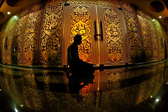 - Come to pray - 2 (Kupih) Tags: people man reflection silhouette muslim islam pray mosque malaysia calligraphy cristal terengganu solat kualaterengganu nikond3 kupih masjidkristal affisheyenikkor16mmf28d hafizahmadmokhtar