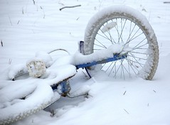 Drifted Bike (T i s d a l e) Tags: winter snow storm bicycle farm january northcarolina 2009 nikond40 tisdale53 driftedbike
