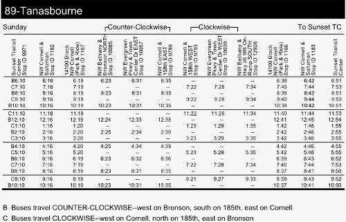 TriMet Line 89 schedule idea