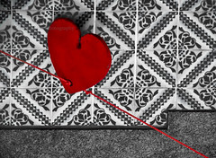 Struck at the heart (isolano.) Tags: red bw cutout tile heart onlythebestare