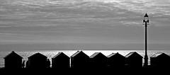 Beach Huts B&W (WHO 2003) Tags: sea brighton huts lamppost beachhuts