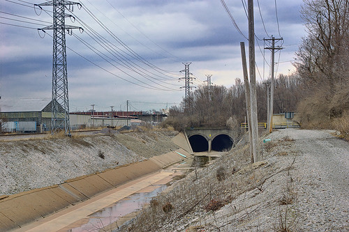 River des Peres drainage channel and tunnels, near Manchester and Macklind Avenues, in Saint Louis, Missouri, USA