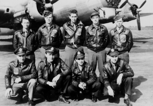 Lewis Wells Crew Photo in Front of B-17 with All Original Crew Members, March 1945
