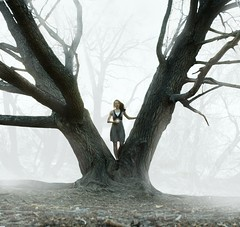 live free, child of the mist (ha!photography) Tags: life mist selfportrait cold tree girl fog forest twilight oak woods dress wind autoretrato orb glowing enchanted glowingorb hugetree haphotography iloveyougwen