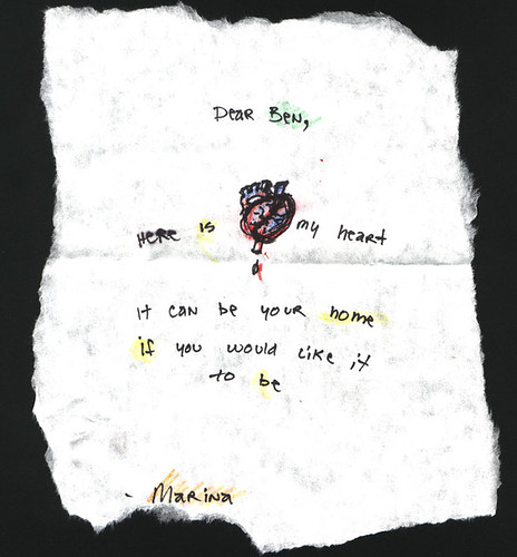 Ink, colored and pencil, drawing of a heard with the words: Dear Ben, here is my heart. It can be your home if you want it to be.