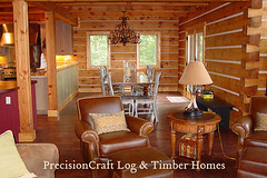 Log Home in North Carolina | Great Room & Dining Room View | PrecisionCraft Log Homes (PrecisionCraft Log & Timber Homes) Tags: pictures wood homes house mountain home design log floor north plan carolina custom architects luxury precisioncraft