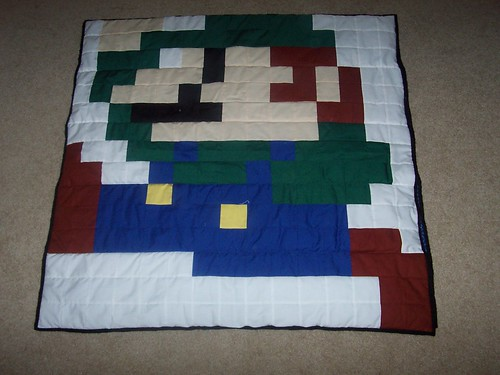 Luigi part of the Mario/Luigi quilt