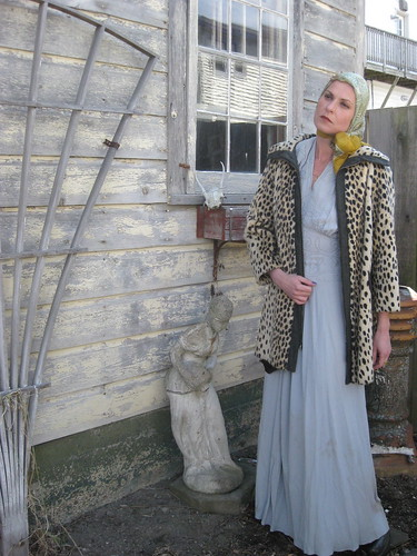 faux cheetah coat over crepe evening gown