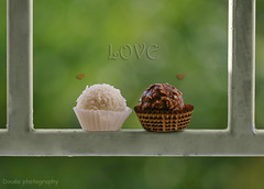 (Doue ) Tags: red green love window canon hearts 100mm iso romantic 100 raffaello ferrerorocher a 400d