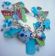 Blue Birdie Upcycled charm bracelet (Jupita) Tags: blue birds recycled jewelry starbucks bracelet eco charms giftcard beading beaded charmbracelet repurposed polyclay upcycled starbuckscard trashion polymerclaybead jupita simplyplushed