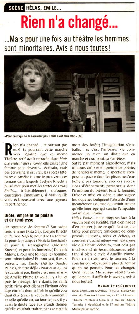 Presse, Gauchebdo, théâtre Actif, Hélas Emile, Espace Culturel des Terreaux