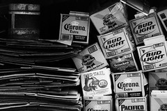 Little Boxes (kellinasf) Tags: beer bar explore cardboard corona pbr pabst boxes budlight budweiser pacifico redtailale msh0509 msh05091 whatboxshallwethinkoutsideof