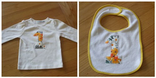 Pearl's shirt and bib for her first birthday!